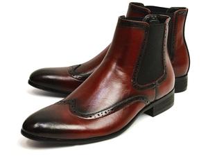 新品■25cm サイドゴアブーツ 紳士靴 フォーマル イタリアン メンズ ブーツ ドレスシューズ 革靴 ビジネス ウイングチップ Zeeno 男 靴