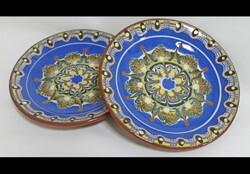 ★早い者勝ち!職人さんから直輸入 ブルガリアの伝統食器トロヤン焼きの中皿2枚(青色)