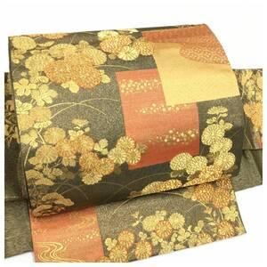 美品 上質 正絹 袋 華模様 銅色 二重太鼓 作り帯 二部式 中古品