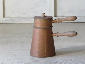 古い 銅製 湯煎鍋 ミルクポット/アンティーク*ビンテージ*昭和レトロ*古道具*実験器具*カフェ*ディスプレイ*什器*古民家*天然生活*片手鍋