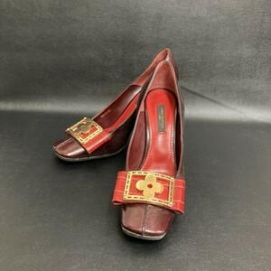◇未使用に近い状態◇ ヒール ルイヴィトン LV 赤系 日本サイズ22cm 靴