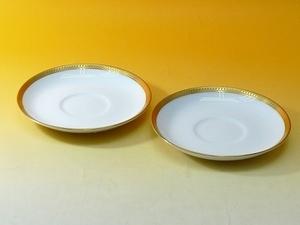 ▲601833*01▲OKURA 大倉陶園 片葉金蝕/白磁金彩ソーサー2点 小皿