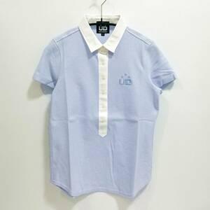 夏物処分セール◆ポロシャツ レディースL ブルー 日本製 UD スポーツ ブルー
