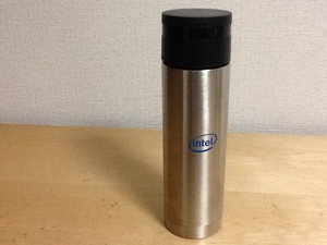 新品未使用 Intel 真空ステンレスボトル 500ml シルバー/ブラック/ブルーロゴマーク 入手困難 タンブラー/水筒 ノベルティ非売品