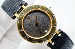 A145●作動良好 可愛い CHARLES JOURDAN シャルルジョルダン ラウンド型 黒文字盤 デイト レディース女性腕時計 ゴールド金 クォーツ