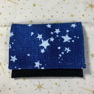 ハンドメイド♪移動ポケットA15(マチなし)デニム風星柄 クリップ別売 ポケットティッシュケース