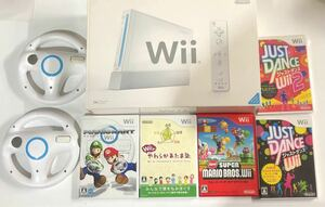 Wii 本体  任天堂  シロ ソフト5本 ハンドル2個 リモコン2個