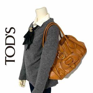【送料無料】TOD'S トッズ 本革 レザー トートバッグ キャメル 肩掛け ハンドバッグ