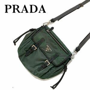 【送料無料】PRADA プラダ ナイロン ショルダーバッグ 斜め掛け カーキ ロゴ
