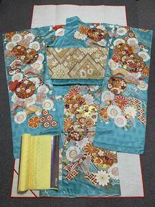 振袖セット 振袖・袋帯・長襦袢 未仕立て 浅葱色