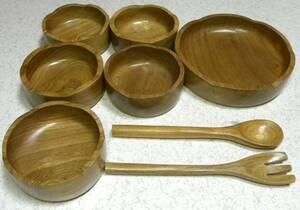 未使用 木製食器セット 大皿・小皿スプーン・フォークセット