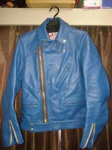 addict clothes アディクトクローズ ライダースジャケット AD-03 限定 ターコイズブルー 34 キップレザー 美品 ルイスレザー サイクロン