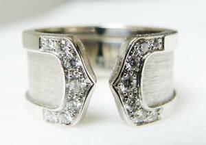 Cartier カルティエ ◇ ドゥーブル 2C LM 750 WG 18K 金 ホワイトゴールド ダイヤモンド リング 指輪 ◇ 49