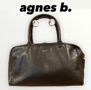【アニエス ベー 】agnes b. ハンドバッグ ボヤージュ 牛革  ミニボストンバッグ レザー 黒