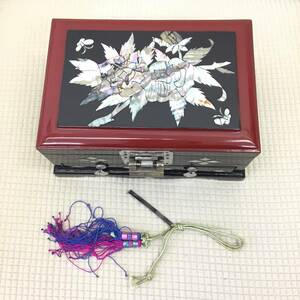 ジュエリーボックス 螺鈿のような美しい装飾 宝箱 小物入れ 鍵付き 鏡付き アンティーク ビンテージ 貝のような光沢