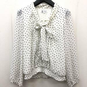 洋服 MK MICHEL KLEIN:ミッシェルクラン ブラウス ホワイト ドット柄 サイズ:38(M) レディースファッション