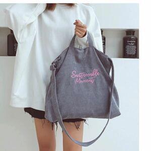 2way コーデュロイトートバッグ ショルダーバッグ ロゴ入り 通勤 通学用 マザーズバッグ レッスンバッグ