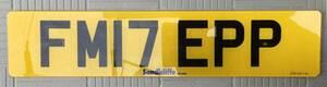 ユーロプレート ヨーロッパ ナンバープレート UKでキャンピングトレーラーに付けていたFM17EPP ネジ穴2つあり 1枚