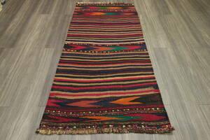 早い者勝ち 飾り糸で遊び心あふれるアフガニスタンオールド手織りキリム トライバルラグ ヴィンテージ 79x163cm #789