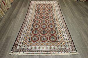 織りの密度高い美しい芸術作品 マリキキリム アフガニスタン トライバルラグ オールド手織りキリム 119x202cm #790