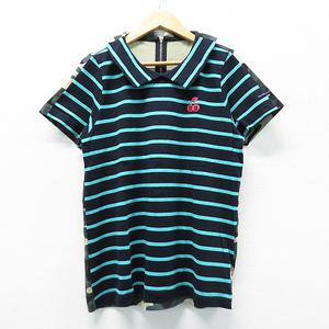 PEARLY GATES パーリーゲイツ 半袖ポロシャツ ボーダー×カモフラ柄 ネイビー系 0 [240001425243] ゴルフウェア レディース
