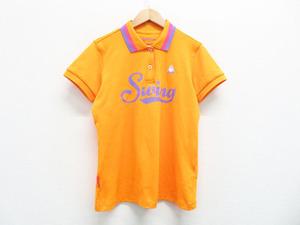 【即決】Lecoq golf ルコックゴルフ 半袖ポロシャツ swing オレンジ系 M [240001292096]【中古】ゴルフウェア レディース