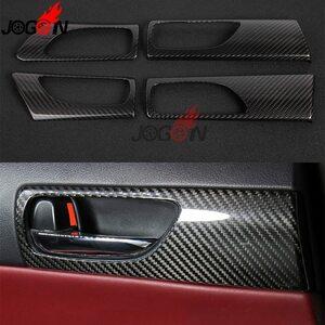 車の内装ドアハンドルパネルトリムレクサス IS250 IS300H IS350 F スポーツ 2014-2018 リアルカーボン繊維