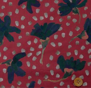 日本製リバティプリント タナローン『Sun Daisy サン・デイジー』ダークレッド 50cm 生地 はぎれ