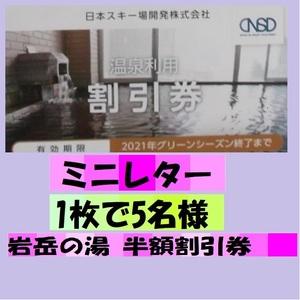 日本駐車場開発 株主優待 白馬姫川温泉 岩岳の湯 半額割引券 1枚(5名まで) 有効期限 令和3年グリーンシーズン終了まで