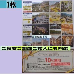 1枚-日本ハウス株主優待券 グループホテル宿泊ご優待券