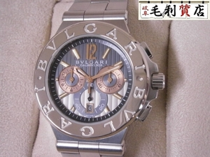仕上済!!美品!BVLGARI DG42SWGCH ディアゴノ 自動巻 裏スケ クロノグラフ ブルガリ メンズ 時計
