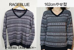 【メンズ】【良品保証返品OK】RAGEBLUE Vネックジャガードニットセーター/おしゃれかわいい♪M