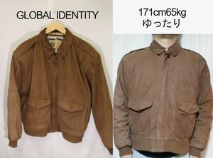 【メンズ】GLOBAL IDENTITYブラウンレザーJKT/USA古着ビンテージ一点物高品質M