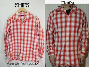 【メンズ】【良品保証返品OK】SHIPSマドラス長袖シャツ/レッドホワイト綺麗カラー16