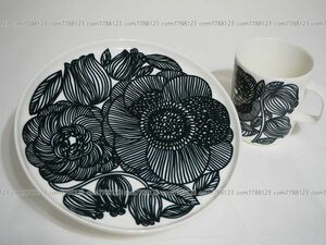未使用2セット◎marimekko◎中型 プレート 白×黒 マリメッコKURJENPOLVI 皿 マグカップ カトラリー 食器 トレイ コップ 丸皿 マグ 北欧