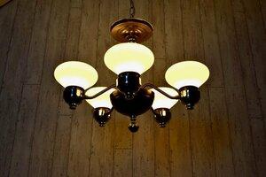 ビンテージ アールデコ5灯シャンデリア 照明 ランプ ライト インテリア ディスプレイ アンティーク ヴィンテージ