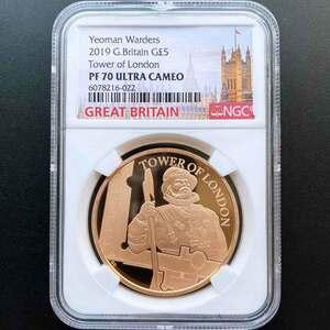 2019 英国 ロンドン塔コインコレクション ヨーマン・ウォーダーズ 5ポンド 金貨 プルーフ NGC PF 70 UC 最高鑑定 完全未使用品 元箱付