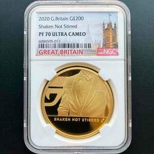 2020 英国 007 ジェームズ・ボンド 第3貨 200ポンド 金貨 2オンス プルーフ NGC PF 70 UC 最高鑑定 完全未使用品 元箱付
