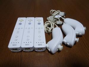 RN01【送料無料 動作確認済】Wii リモコン ヌンチャク 3個セット ホワイト 白