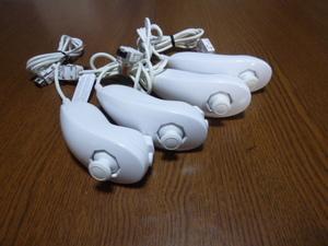 N041【送料無料 動作確認済】Wii ヌンチャク 4個セット ホワイト(クリーニング済)白 NINTENDO 任天堂 純正