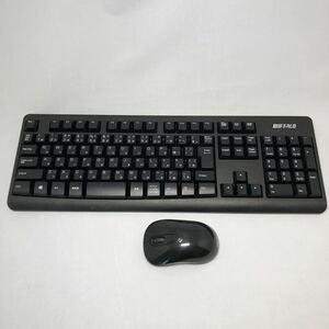 中古良品 BUFFALO バッファロー 2.4GHzワイヤレスキーボード&マウスセット ブラック USB 無線 BSKBW110SBK