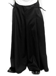 【新品】 F ブラック AS SUPER SONIC ワイドパンツ メンズ ポケット ギャザー デザイナーズ 袴パンツ スカート風 ガウチョパンツ 日本製 国