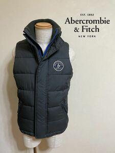【良品】 Abercrombie & Fitch A&F アバクロンビー&フィッチ 中わた ベスト 裏起毛 トップス サイズS 175/92Y ネイビー