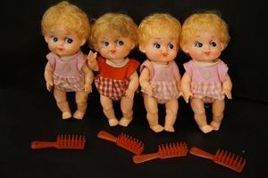 昭和 レトロ 女の子 ソフビ 人形 4点 倉庫品 ドール 抱き人形 昔