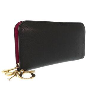 【中古】 ディオール ディオリッシモ 長財布 ロングウォレット ラウンドファスナー レザー ブラック×ピンク Dior 【質屋】