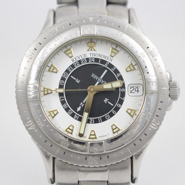 レビュートーメン シーマーク メンズ クォーツ 腕時計 白×黒文字盤 純正SSベルト 5810005【いおき質店】