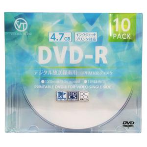 VERTEX DVD-R(Video with CPRM) 1回録画用 120分 1-16倍速 10P インクジェットプリンタ対応(ホワイト) DR-120DVX.10CA(l-4512254004124)