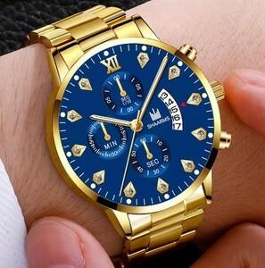 メンズ 腕時計 ビジネス 高級 ステンレス鋼 クォーツ 時計 カジュアル カレンダー 腕時計