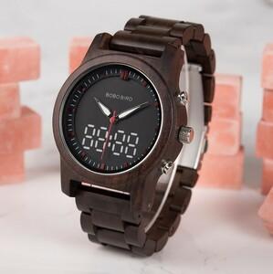 男性 腕時計 Led デジタル クオーツ ダブルディスプレイ 木材 メンズ レロジオ