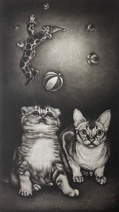 生田宏司「仔猫幻影」銅版画 メゾチント 額装 サインあり 仔猫 ピエロ